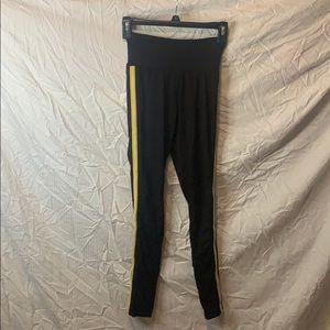 rue21 Black Leggings w/ Gold & White Stripe